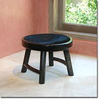 Seating - Uma Stool - Pfeifer Studio - stool, black, wood, hide, Chinese, traditional, low, seat, accent