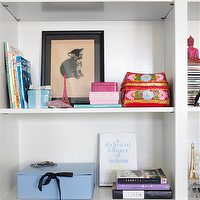 Burnham Design - living rooms - bookcase vignettes, vignette, blue boxes, bookcase tchotchkes, tchotchkes, mini foo dogs, turquoise foo dogs, tiffany boc, ceramic tiffany box, pink lacquer boxes, woven baskets, styled bookcase,