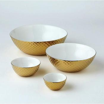Decor/Accessories - Diamond Cut Nesting Bowls -Gold (set of 4) - by DwellStudio - gold, bowls, nesting, metallic, serving, display, glamour, sparkle