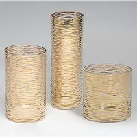 Decor/Accessories - Gold Ribbons Glass Vase - by DwellStudio - geometric, vase, gold, modern, metallic, geometric