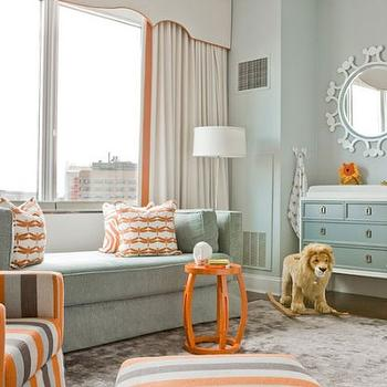 Blue and Orange Nursery, Contemporary, nursery, Lovejoy Designs