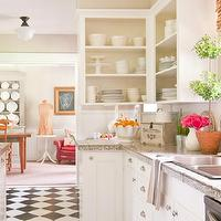 Holly Mathis Interiors - kitchens - white raised panel cabinet doors, schoolhouse pendants, kitchen topiary, kitchen topiaries, bamboo roman shades, laminate counters, kitchen laminate counters, laminate kitchen countertops, white kitchen cabinets, open kitchen cabinets, black and white, black and white kitchen floors, black and white kitchen floor, checkered tiles, checkered kitchen tiles, kitchen checkered tiles, black and white checkered tiles, black and white checkered kitchen floor, gray laminate countertops, white and gray laminate countertops,