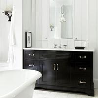 Hammersmith Atlanta - bathrooms - modern cottage bathrooms, plank walls, bathroom plank walls, vertical plank walls, plank panelings, white plank panelings, plank walls in bathrooms, inset bathroom mirrors, glossy black bathroom cabinets, extra-wide bathroom vanity, black bathroom vanity, glossy black vanity, black bathroom cabinets, glossy black bathroom cabinets, black cabinets, black vanity, black single vanity, marble bathroom counters, freestanding tubs, white stone bathroom tiles, white stone tiles floor, white stone bathroom floor,