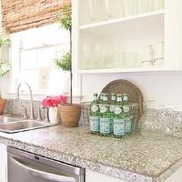 Holly Mathis Interiors - kitchens - kitchen topiary, kitchen topiaries, bamboo roman shades, laminate counters, kitchen laminate counters, laminate kitchen countertops, white kitchen cabinets, open kitchen cabinets, gray laminate countertops, white and gray laminate countertops,