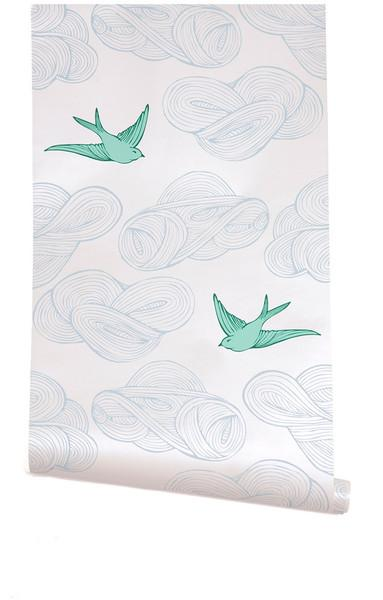 Wallpaper - Hygge & West | Daydream (White) - birds, clouds, mint, green, blue, white, metallic, modern, contemporary
