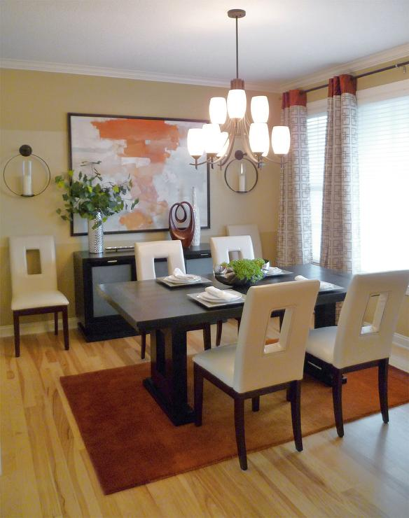 dining rooms - Sherwin Williams - whole wheat - Whole wheat, base coat, with believable buff, color block, pattern drapes, terra cotta, red, accents, espresso, furniture, cut-out ivory, leather chairs, ombre, rug, abstract, painting, candle, sconces, silver accessories, orange, dining room,