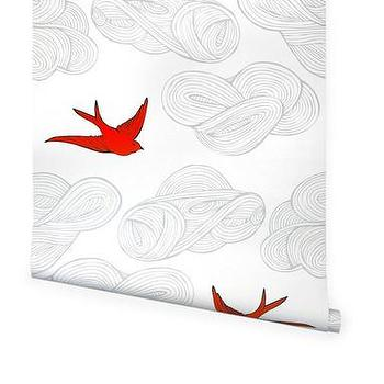 Wallpaper - Hygge & West | Daydream (Orange) - birds, clouds, nature, contemporary, modern, pattern, red, orange, white, gray, metallic