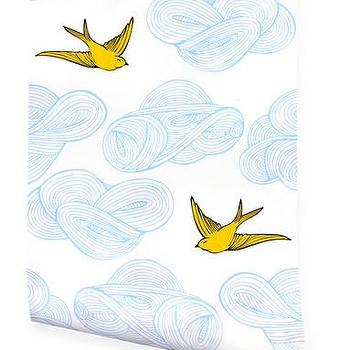 Wallpaper - Hygge & West | Daydream (Sunshine) - birds, clouds, modern, pattern, contemporary, nature, yellow, blue, white