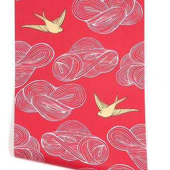 Wallpaper - Hygge & West | Daydream (Red) - red, yellow, white, birds, nature, pattern, modern, contemporary