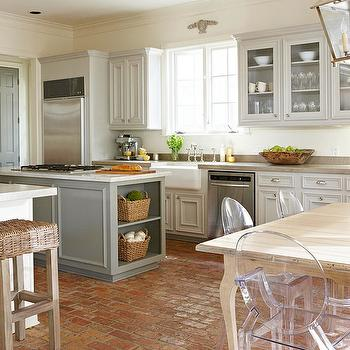 Gorgeous modern French two-tone kitchen with light gray raised panel perimeter ...