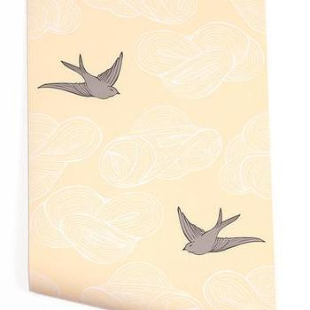 Wallpaper - Hygge & West | Daydream (Yellow) - yellow, grey, white, birds, clouds, modern, contemporary, pattern
