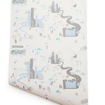 Wallpaper - Hygge & West | Busy Town (White) - kids, blue, gray, cream, white, nursery, graphic, modern, town,