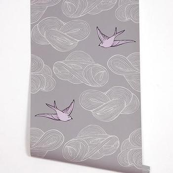 Wallpaper - Hygge & West | Daydream (Light Gray) - birds, pattern, nature, clouds, modern, contemporary, metallic, gray, purple, lilac, lavender