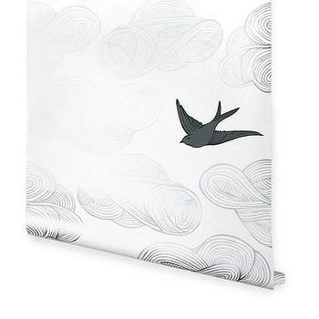 Wallpaper - Hygge & West | Daydream (Silver) - black, white, gray, metallic, birds, clouds, contemporary, modern, nature, pattern