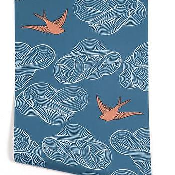 Wallpaper - Hygge & West | Daydream (Blue) - birds, modern, clouds, contemporary, pattern, nature, blue, teal. white, orange, metallic