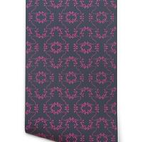 Wallpaper - Hygge & West | Poppy (Gray) - gray, charcoal, pink, fuschia, branches, floral, contemporary, modern, geometric