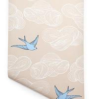 Wallpaper - Hygge & West | Daydream (Cream) - cream, white, blue, pastel, birds, clouds, nature, contemporary, modern,