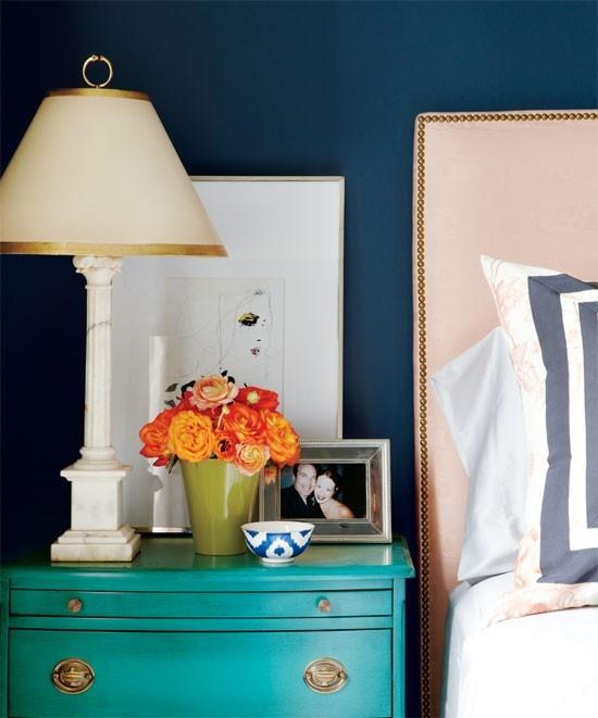 Meredith Heron Design - bedrooms - chic bedrooms, peacock blue, peacock blue paint, peacock blue color, peacock blue paint color, peacock blue walls, peacock blue bedroom walls, teal chests, teal nightstands, vintage chests, vintage nightstands, teal vintage chests, teal vintage nightstands, alabaster lamps, alabaster bedside lamps, slim alabaster lamps, olive green vase, ikat bowls, blue ikat bowls, anthropologie ikat bowls, peacock blue and teal, teal and peacock blue, peacock blue and teal bedrooms, teal and peacock blue bedrooms, nailhead headboards, nailhead trim headboards, wets elm headboards, vintage lamps, vintage table lamps, alabaster lamps, alabaster table lamps, vintage alabaster lamps,