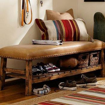 Seating - Caden Leather Bench | Pottery Barn - leather, brown, pine, nailhead, bench, cognac, beige, caramel, rustic, country
