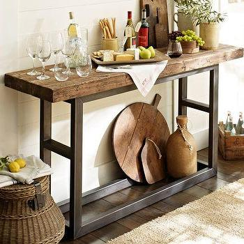Tables - Griffin Console Table | Pottery Barn - reclaimed, salvage, industrial, rustic, weathered, pine, steel, metal, vintage, console, table