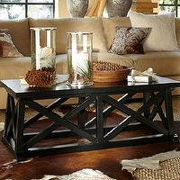 Tables - Kelty Coffee Table | Pottery Barn - mahogany, black, distressed, coffee, table, wood, x, country, rustic, contemporary