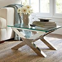 Tables - Ava Accent Table | Pottery Barn - polished, nickel, glass, iron, metal, metallic, modern, contemporary, x, coffee, accent, table, silver