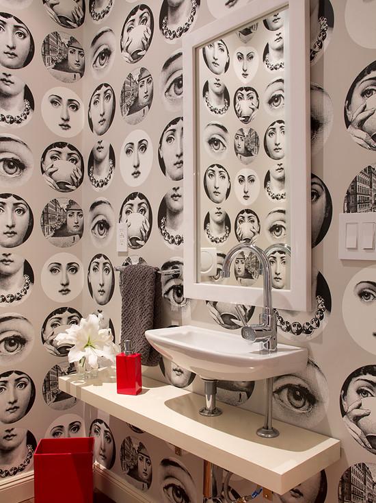Fornasetti wallpaper contemporary bathroom artistic designs for living - Fornasetti faces wallpaper ...