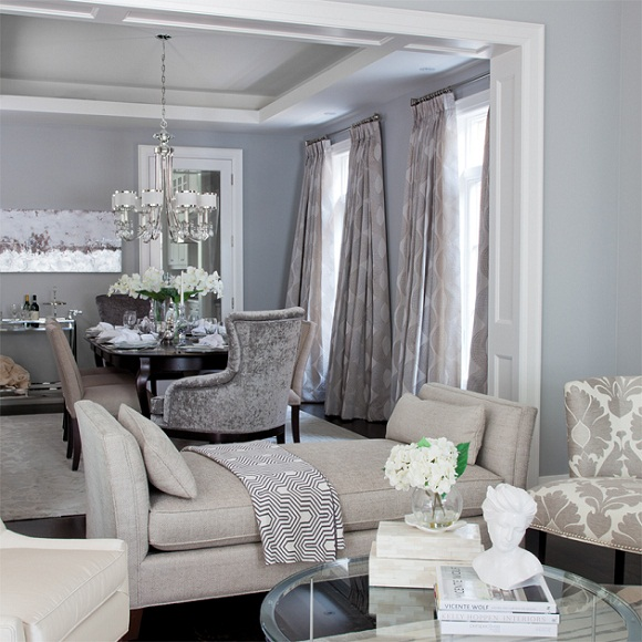Gray and Blue Living Room - Contemporary - dining room - Jennifer ...