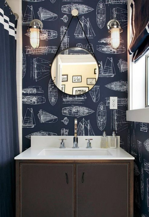 The philosophy of interior design navy and teal in the Navy blue and white bathroom
