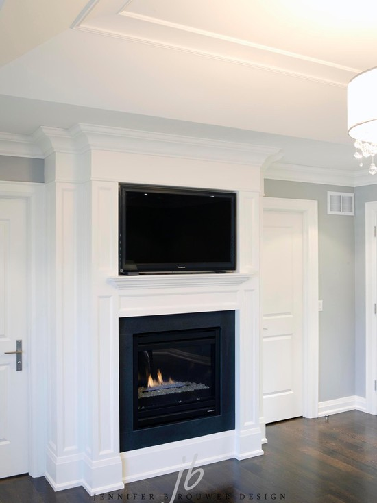 Fireplace TV - Transitional - bedroom