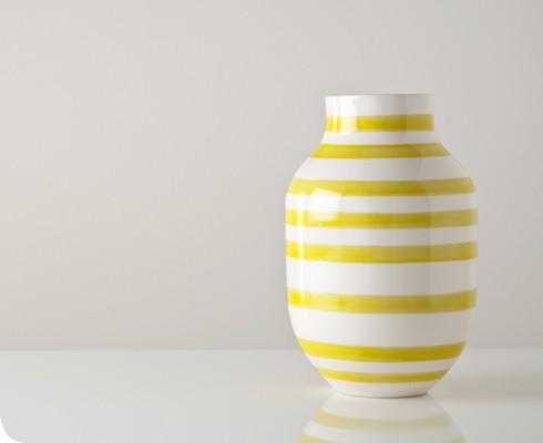 Decor/Accessories - Large Yellow and White Omaggio Vase - Gretel - mustard, yellow, striped, modern, contemporary, vintage, vase, Danish