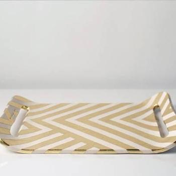 Decor/Accessories - Zag Gold Leaf Tray - Gretel - gold, leaf, chevron, tray, contemporary, modern, graphic, ceramic,