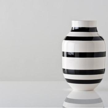 Decor/Accessories - Large Black and White Omaggio Vase - Gretel - modern, Danish, black, white, striped, vintage, contemporary, vase,