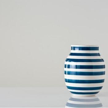 Decor/Accessories - Medium Blue and White Omaggio Vase - Gretel - teal, blue, peacock, striped, modern, contemporary, Danish, vase