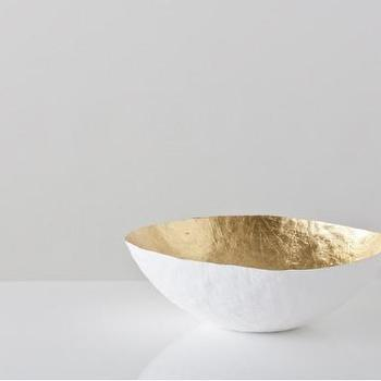Decor/Accessories - Large Gold Paper Bowl - Gretel - gold, bowl, white, decor, graphic, metallic, contemporary, modern