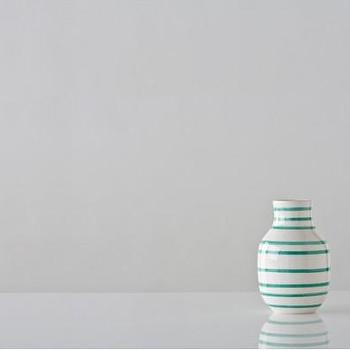 Decor/Accessories - Small Turquoise and White Omaggio Vase - Gretel - turquoise, green, striped, white, vase, contemporary, modern, vintage