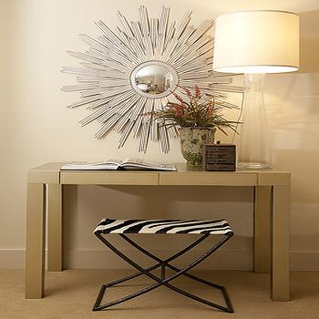 Lisa Sherry Interieurs - entrances/foyers - zebra stools, zebra ottomans, zebra bench, metallic parsons table, parsons, sunburst mirrors, foyer sunburst mirrors, clear glass lamps, foyer lamps, , Oly Studio Hadley Bench Small,