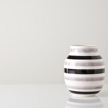 Decor/Accessories - Medium Black and Gray Omaggio Vase - Gretel - black, white, gray, striped, modern, contemporary, Danish, vintage, vase