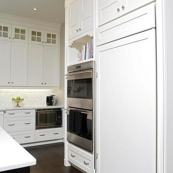 White Wood Refrigerator, Transitional, kitchen, Jennifer Brouwer Design