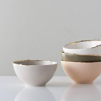 Decor/Accessories - Flawed Gold-Plated Set of Bowls - Gretel - ceramic, bowls, white, pink, olive, taupe, gray, contemporary, dishes, gilded