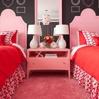 Jennifer Brouwer Design - girl's rooms - valentines bedrooms, pink girls bedrooms, pink and red girls bedrooms, twin beds, pink headboards, pink twin headboards, twin pink headboards, red girls bedding, girls bedskirts, hearts ruffled bedskirts, hearts bedskirts, ruffled bedskirts, pink hearts bedskirts, hearts pillows, pink hearts pillows, girls pillows, girls hearts pillows, pink nightstands, girls nightstands, pink girls nightstands, girls pink nightstands, pink mirrors, pink beveled mirrors, girls mirrors, girls bedroom mirrors, chalkboard walls, girls chalkboard walls, white flower lamps, girls lamps, girls bedroom lamps, pink carpeting, girl carpeting, girls bedroom carpeting, twin headboards, twin pink headboards,