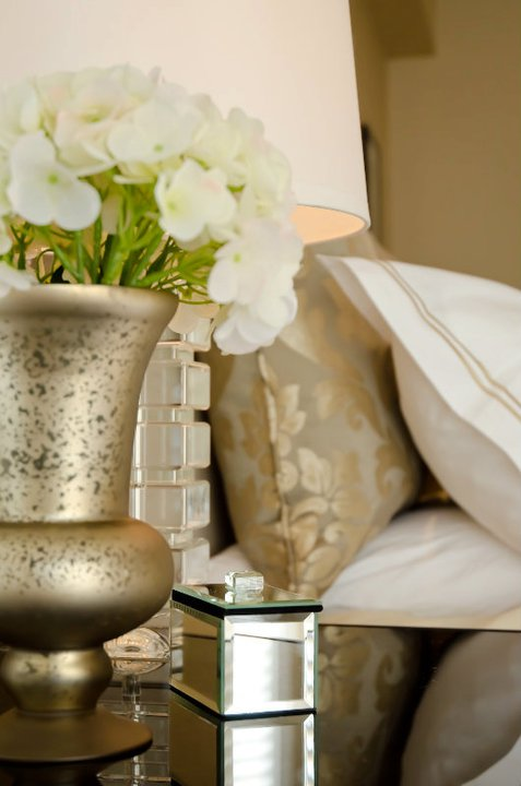 Gold and Gray Bedding Transitional bedroom Twenty