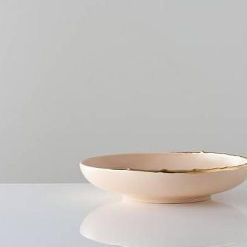 Decor/Accessories - Flawed Gold-Plated Wide Bowl in Flesh - Gretel - bowl, pink, peach, flesh, contemporary, dish, ceramic, gilded, gold,