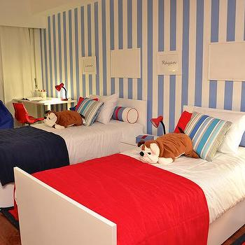 Isabel P. Lima - boy's rooms - beds, kids, boys, red, blue, white, funny, bedroom, kids room, boy room,  Kids Room - Boys Room
