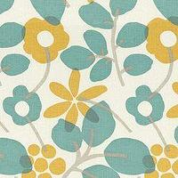 Fabrics - Nathalie Teal - Fabric - Calico Corners - teal, gold, mustard, graphic, floral, gray, cream, fabric