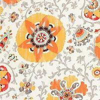 Fabrics - Silsila Gold - Fabric - Calico Corners - suzani, cream, orange, gold, floral, contemporary, outdoor, bright, fabric