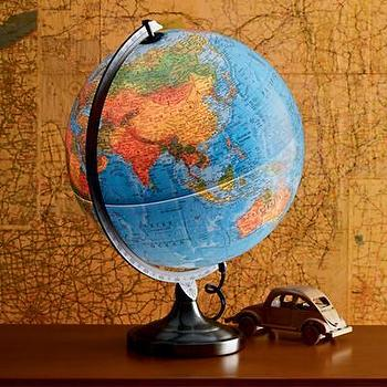 Lighting - Kids Illuminated World Globe Lamp - Land of Nod - kids, boys, girls, bedroom, nursery, play, world, globe, lamp, map, illuminated