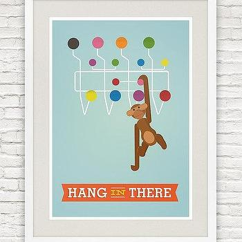 Art/Wall Decor - Eames poster - by handz - Etsy - modern, retro, contemporary. aqua, blue, monkey, mid century, poster, print, art,