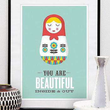 Art/Wall Decor - Retro quote - by handz - Etsy - print, poster, russian, doll, nursery, quote, modern, retro, blue, aqua, bright, art