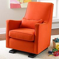 Seating - Orange Upholstered Monte Luca Glider - Land of Nod - modern, vintage, contemporary, orange, glider, upholstered, kds, nursery